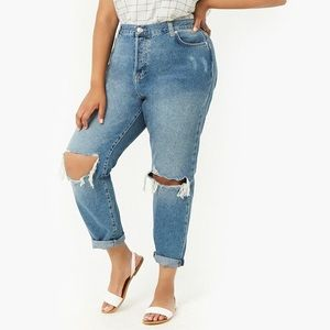 Plus Size High Waisted Distressed Mom Jeans